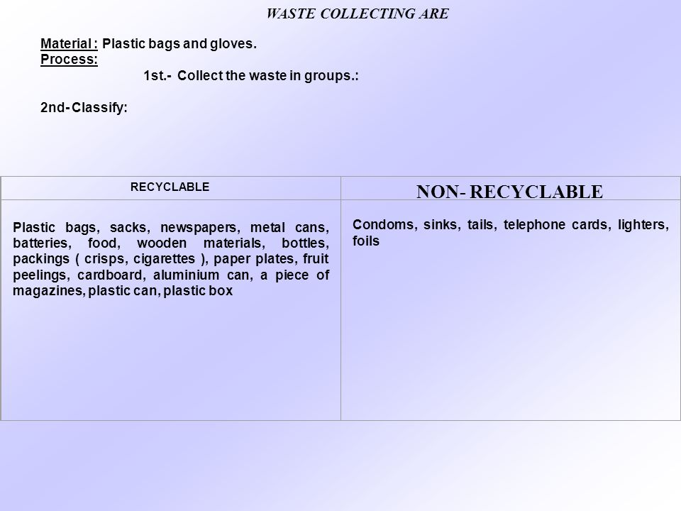 NON- RECYCLABLE WASTE COLLECTING ARE
