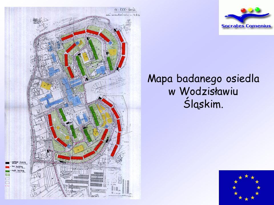 Mapa badanego osiedla w Wodzisławiu Śląskim.