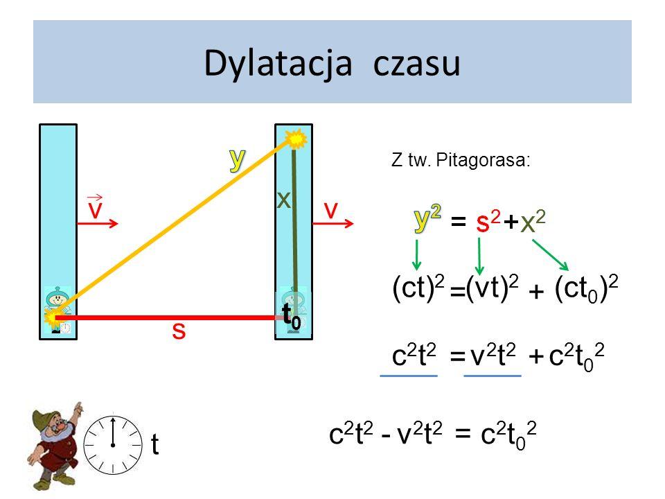 Dylatacja czasu v y x v (ct)2 = + (vt)2 (ct0)2 t0 s c2t2 = + v2t2