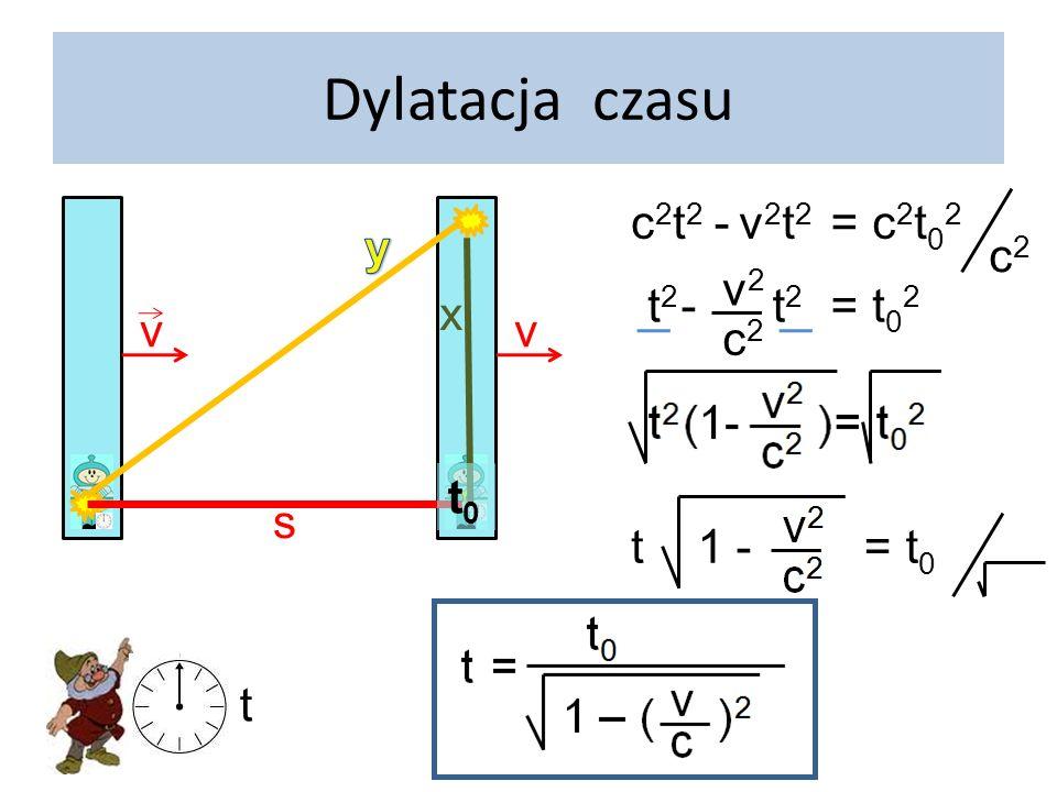 Dylatacja czasu c2t2 - v2t2 = c2t02 c2 v y x t2 - v2 c2 = t02 v t0 s t
