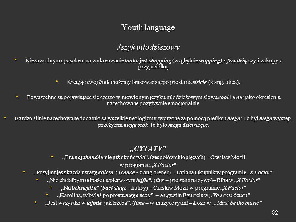 Youth language Język młodzieżowy