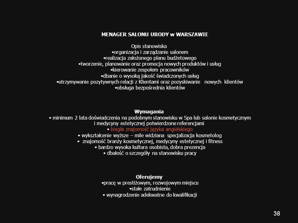 •organizacja i zarządzanie salonem