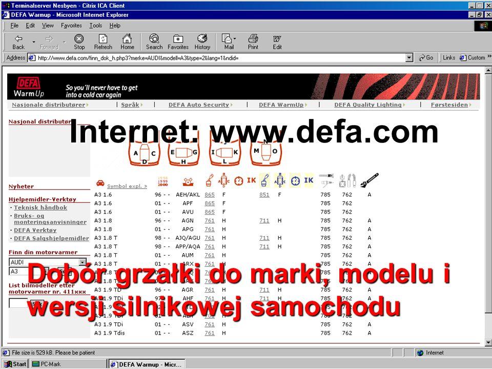 Internet: www.defa.com Dobór grzałki do marki, modelu i wersji silnikowej samochodu