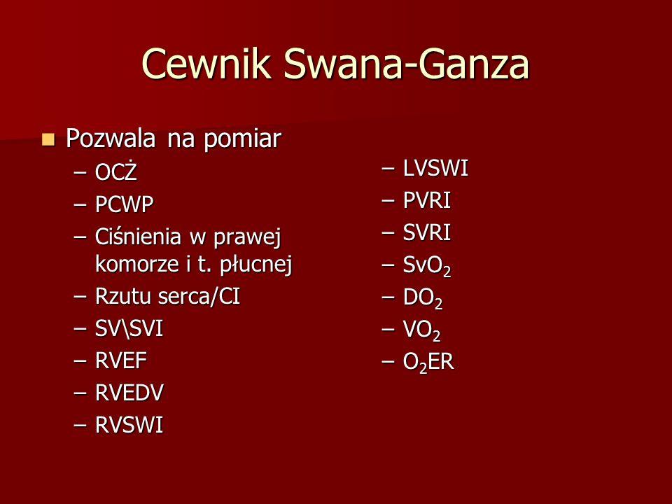 Cewnik Swana-Ganza Pozwala na pomiar LVSWI OCŻ PVRI PCWP