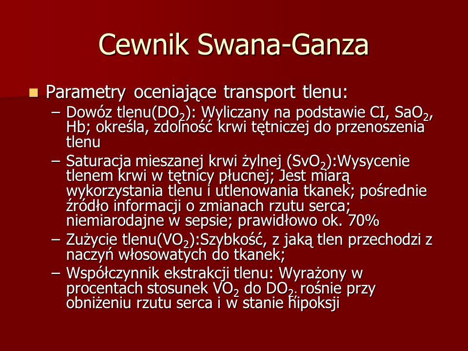 Cewnik Swana-Ganza Parametry oceniające transport tlenu: