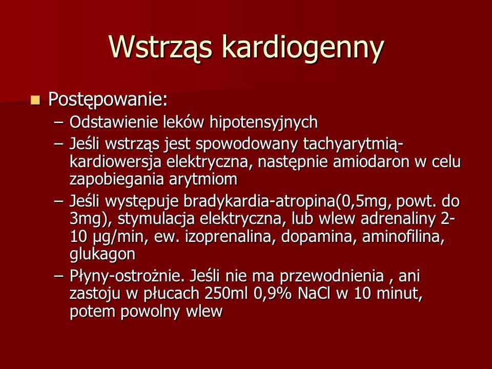 Wstrząs kardiogenny Postępowanie: Odstawienie leków hipotensyjnych