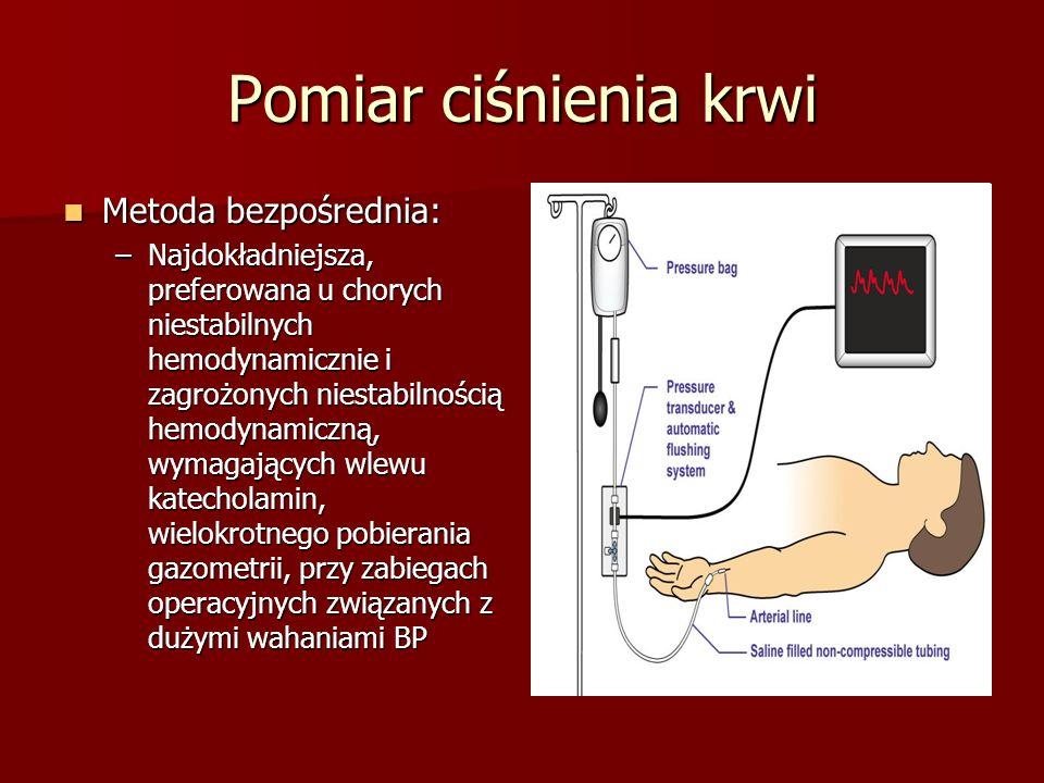 Pomiar ciśnienia krwi Metoda bezpośrednia: