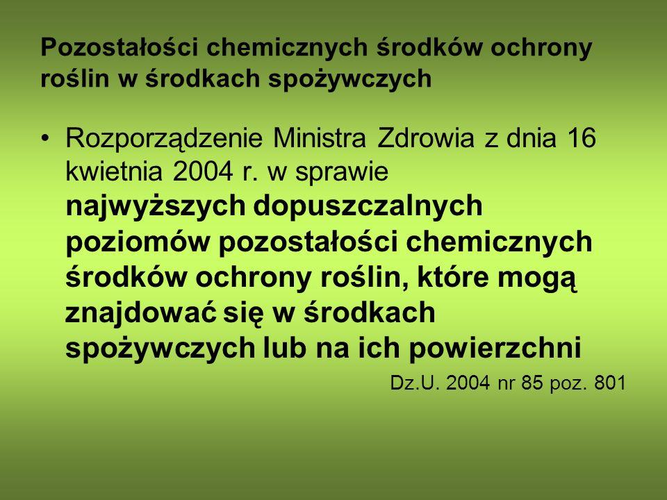 Pozostałości chemicznych środków ochrony roślin w środkach spożywczych