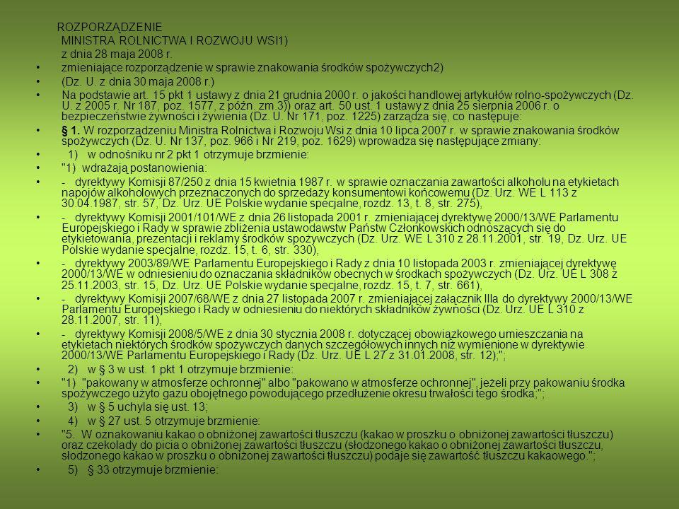MINISTRA ROLNICTWA I ROZWOJU WSI1) z dnia 28 maja 2008 r.