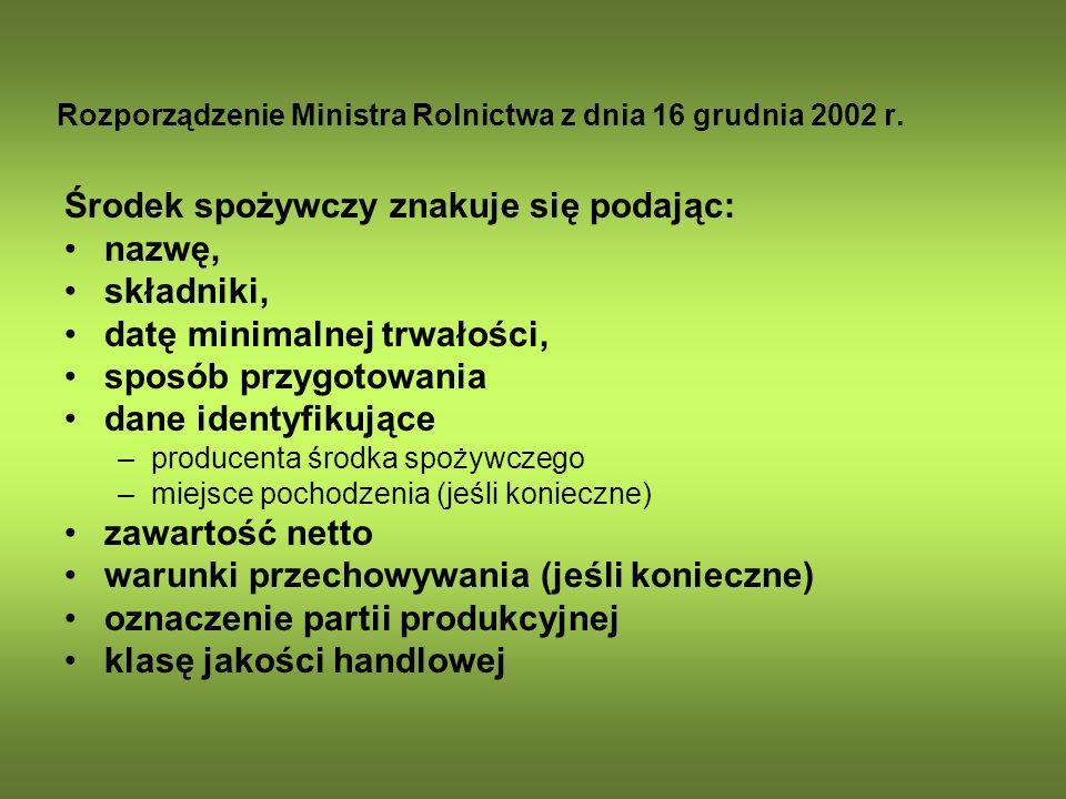 Rozporządzenie Ministra Rolnictwa z dnia 16 grudnia 2002 r.