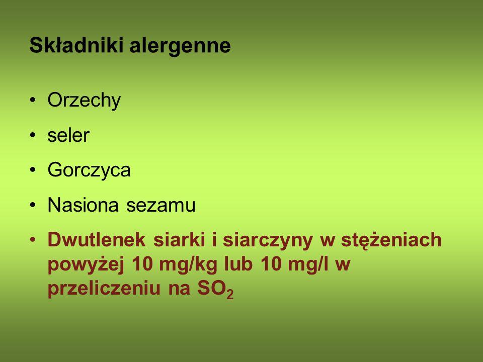 Składniki alergenne Orzechy seler Gorczyca Nasiona sezamu
