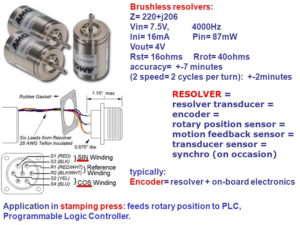 Brushless resolvers: Z= 220+j206. Vin= 7.5V, 4000Hz. Ini= 16mA Pin= 87mW. Vout= 4V.