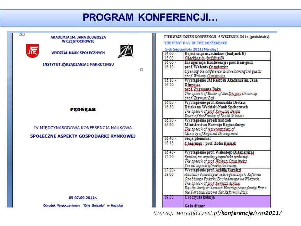 PROGRAM KONFERENCJI… Szerzej: wns.ajd.czest.pl/konferencje/izm2011/