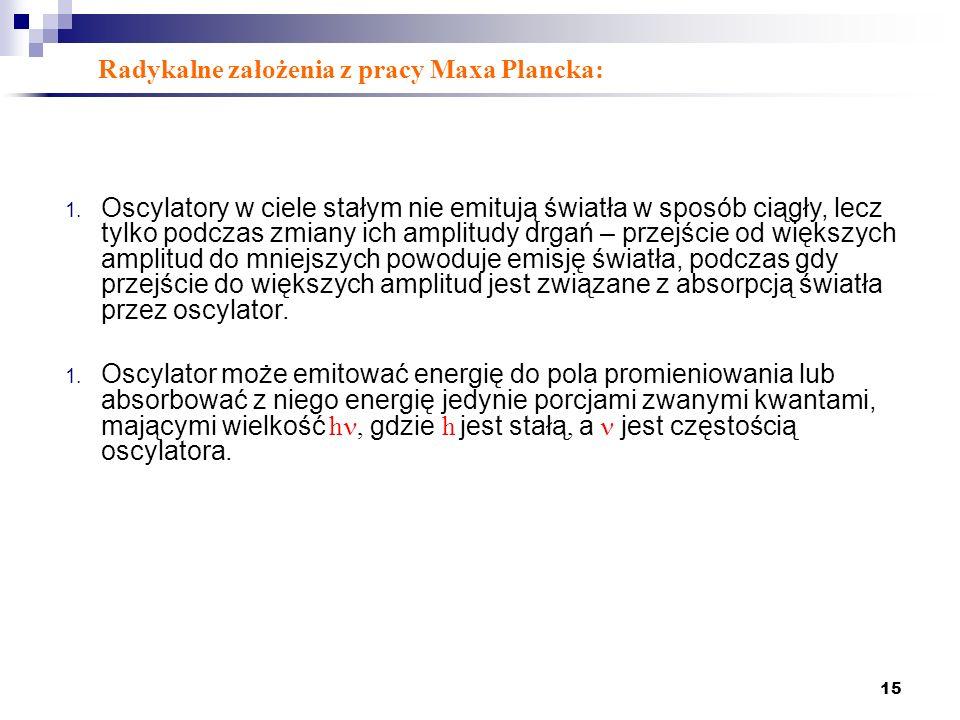Radykalne założenia z pracy Maxa Plancka: