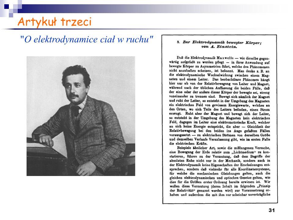 Artykuł trzeci O elektrodynamice ciał w ruchu