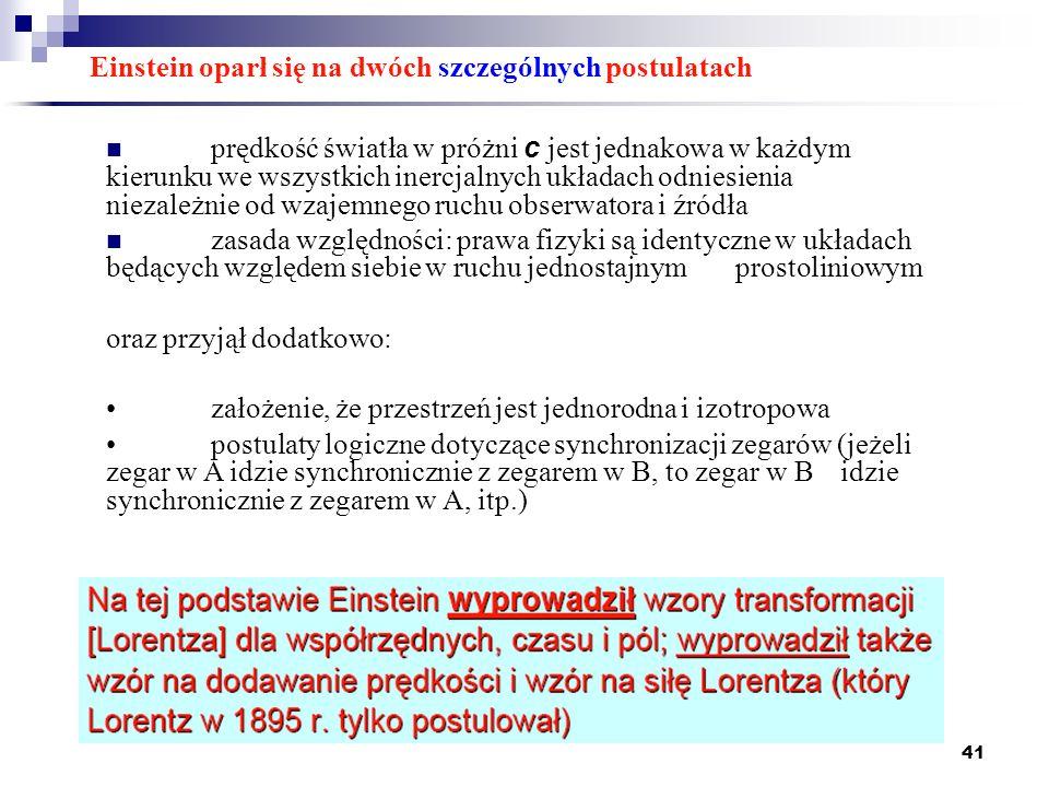 Einstein oparł się na dwóch szczególnych postulatach