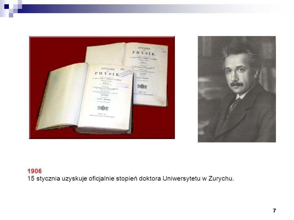 1906 15 stycznia uzyskuje oficjalnie stopień doktora Uniwersytetu w Zurychu.