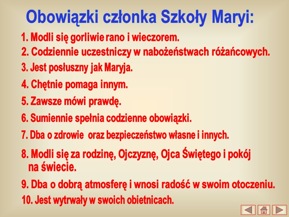 Obowiązki członka Szkoły Maryi: