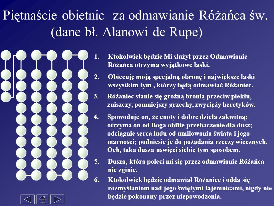 Piętnaście obietnic za odmawianie Różańca św. (dane bł