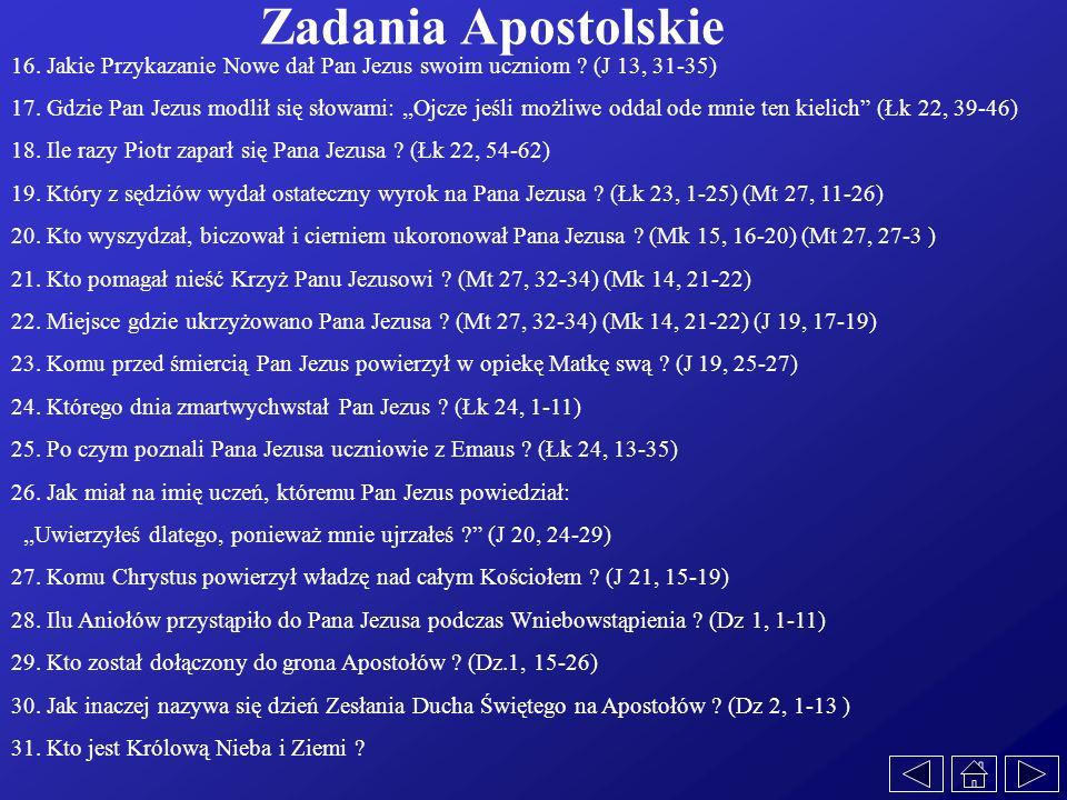 Zadania Apostolskie 16. Jakie Przykazanie Nowe dał Pan Jezus swoim uczniom (J 13, 31-35)