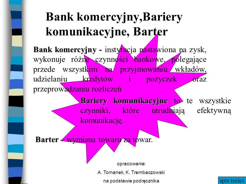 Bank komercyjny,Bariery komunikacyjne, Barter