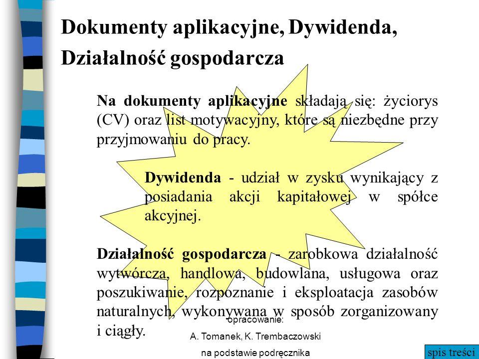 Dokumenty aplikacyjne, Dywidenda, Działalność gospodarcza