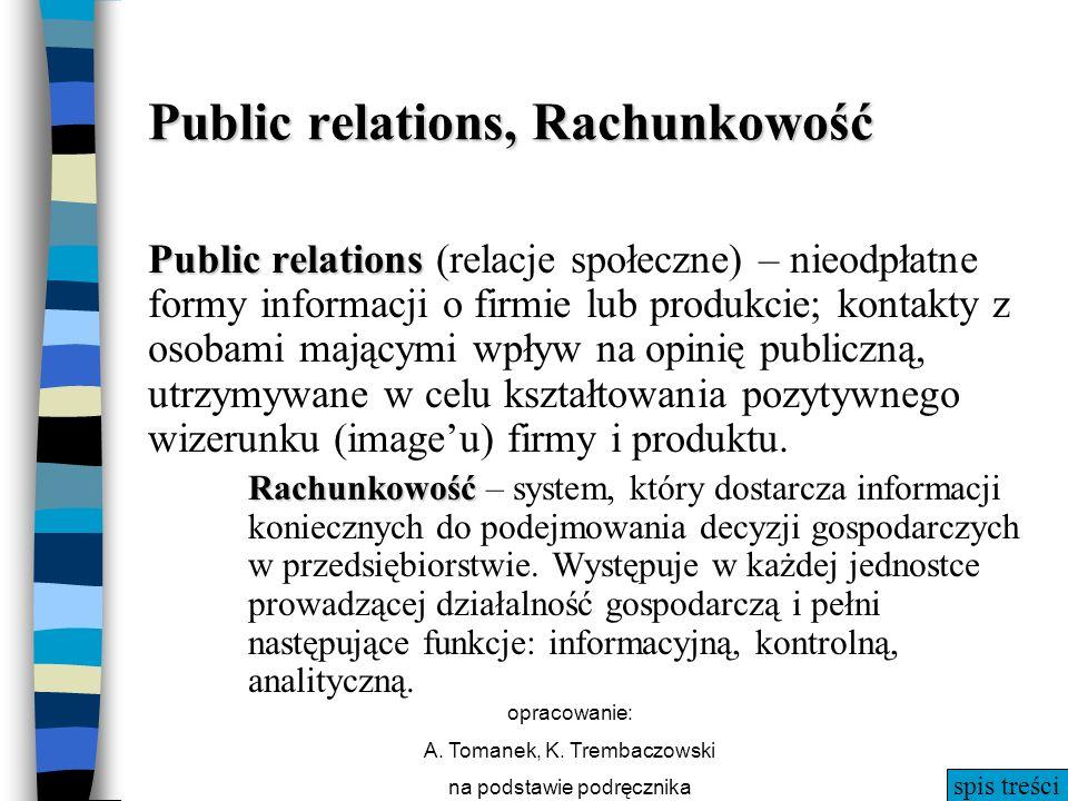 Public relations, Rachunkowość