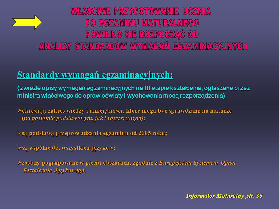 Standardy wymagań egzaminacyjnych: