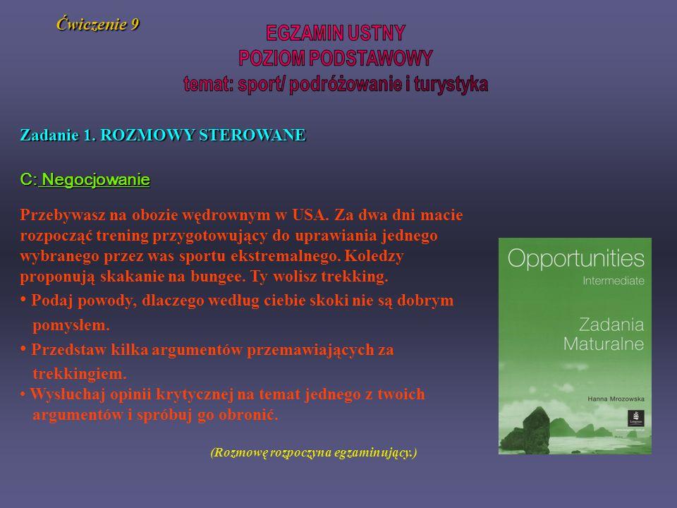 temat: sport/ podróżowanie i turystyka