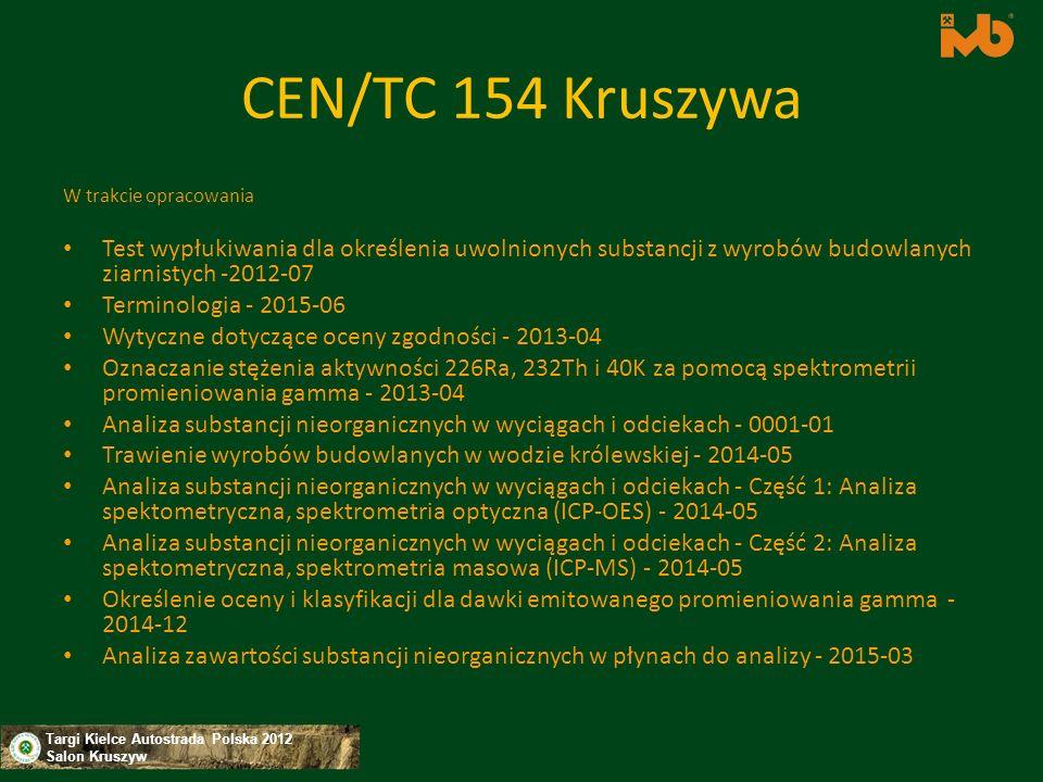 CEN/TC 154 Kruszywa W trakcie opracowania. Test wypłukiwania dla określenia uwolnionych substancji z wyrobów budowlanych ziarnistych -2012-07.