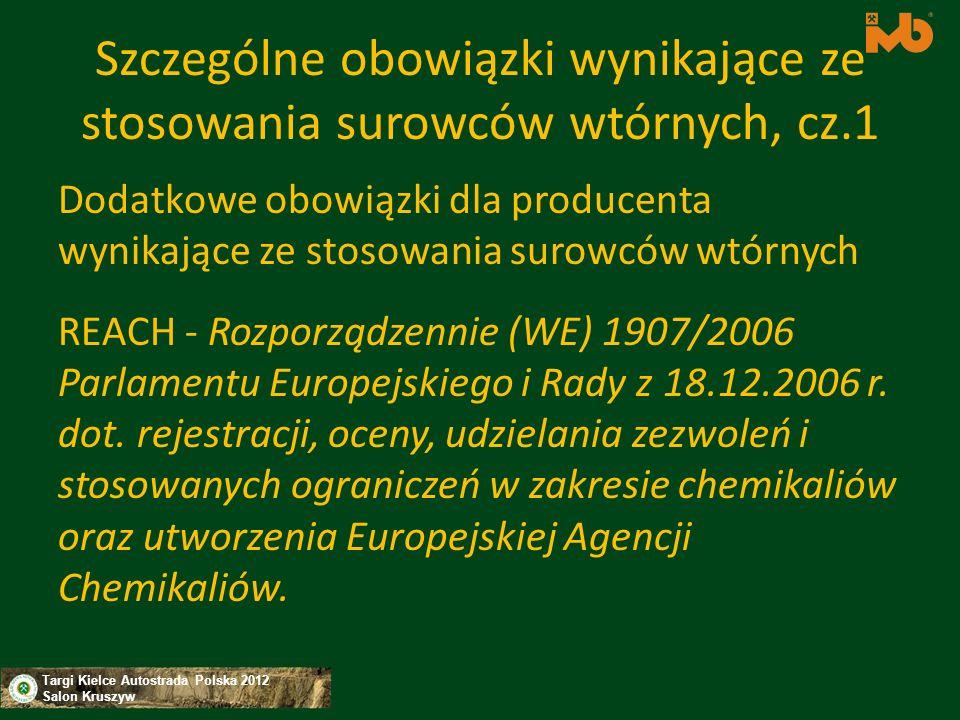 Szczególne obowiązki wynikające ze stosowania surowców wtórnych, cz.1