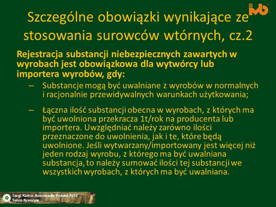 Szczególne obowiązki wynikające ze stosowania surowców wtórnych, cz.2
