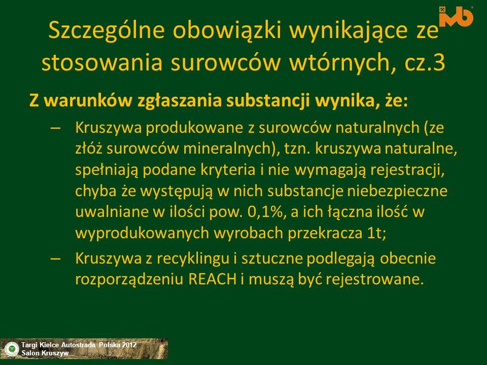 Szczególne obowiązki wynikające ze stosowania surowców wtórnych, cz.3