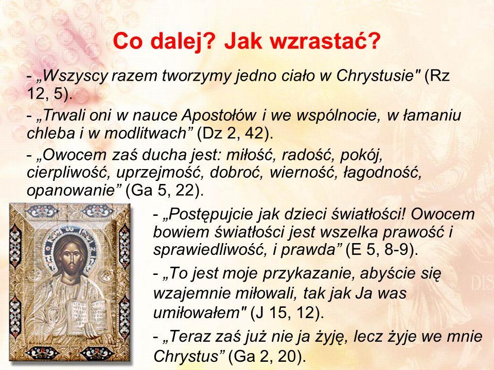 """Co dalej Jak wzrastać """"Wszyscy razem tworzymy jedno ciało w Chrystusie (Rz 12, 5)."""