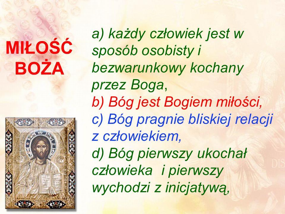 a) każdy człowiek jest w sposób osobisty i bezwarunkowy kochany przez Boga, b) Bóg jest Bogiem miłości, c) Bóg pragnie bliskiej relacji z człowiekiem, d) Bóg pierwszy ukochał człowieka i pierwszy wychodzi z inicjatywą,