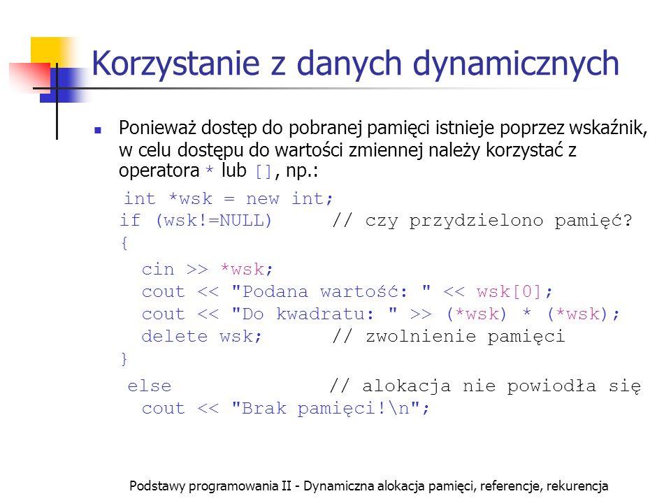 Korzystanie z danych dynamicznych