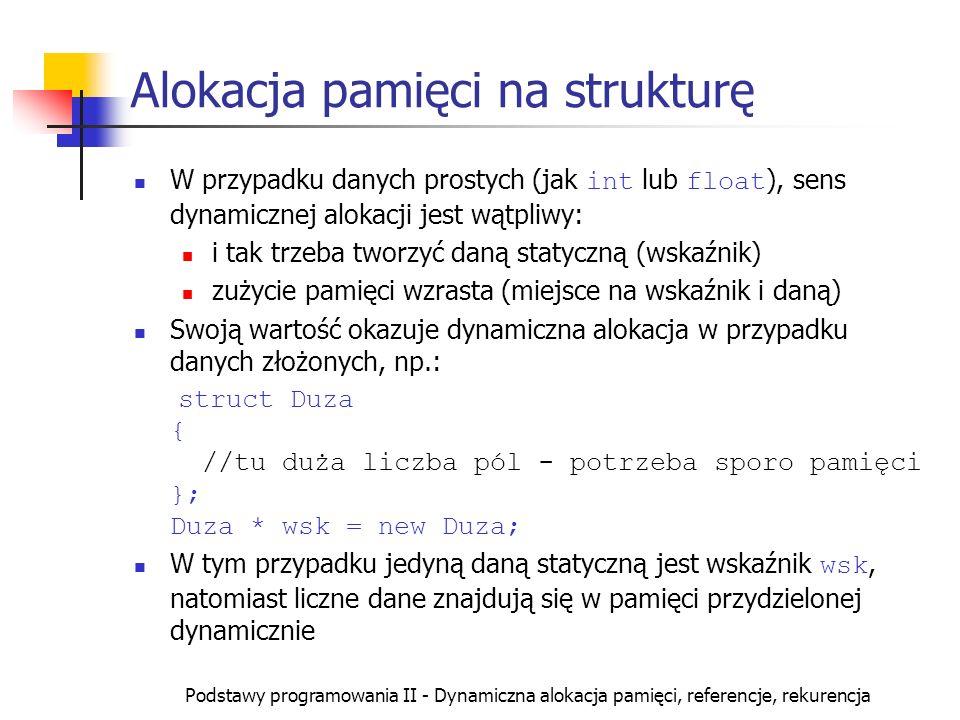 Alokacja pamięci na strukturę