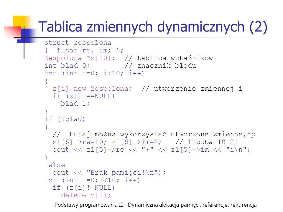 Tablica zmiennych dynamicznych (2)