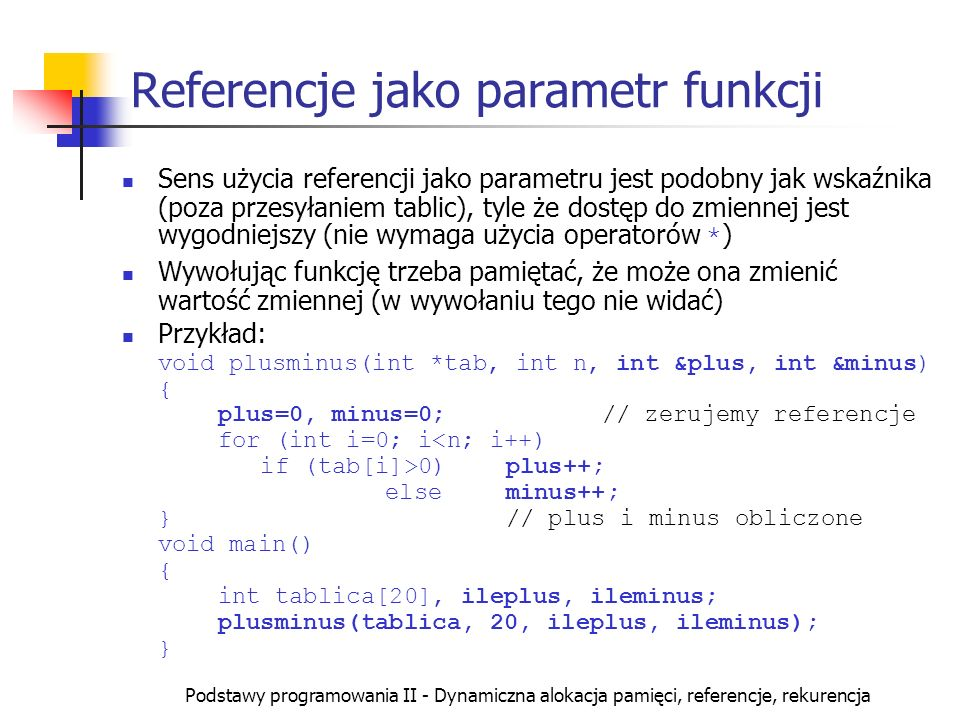 Referencje jako parametr funkcji