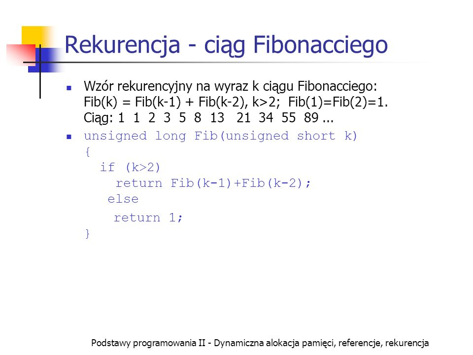 Rekurencja - ciąg Fibonacciego