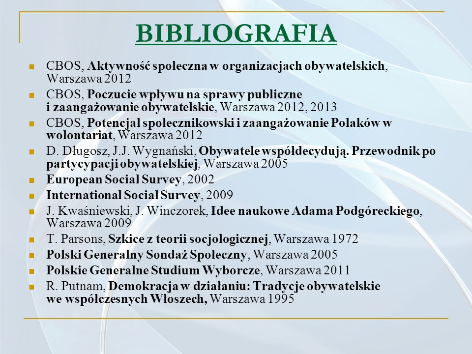 BIBLIOGRAFIA CBOS, Aktywność społeczna w organizacjach obywatelskich, Warszawa 2012.