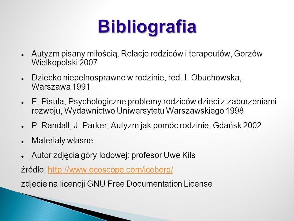 Bibliografia Autyzm pisany miłością. Relacje rodziców i terapeutów, Gorzów Wielkopolski 2007.