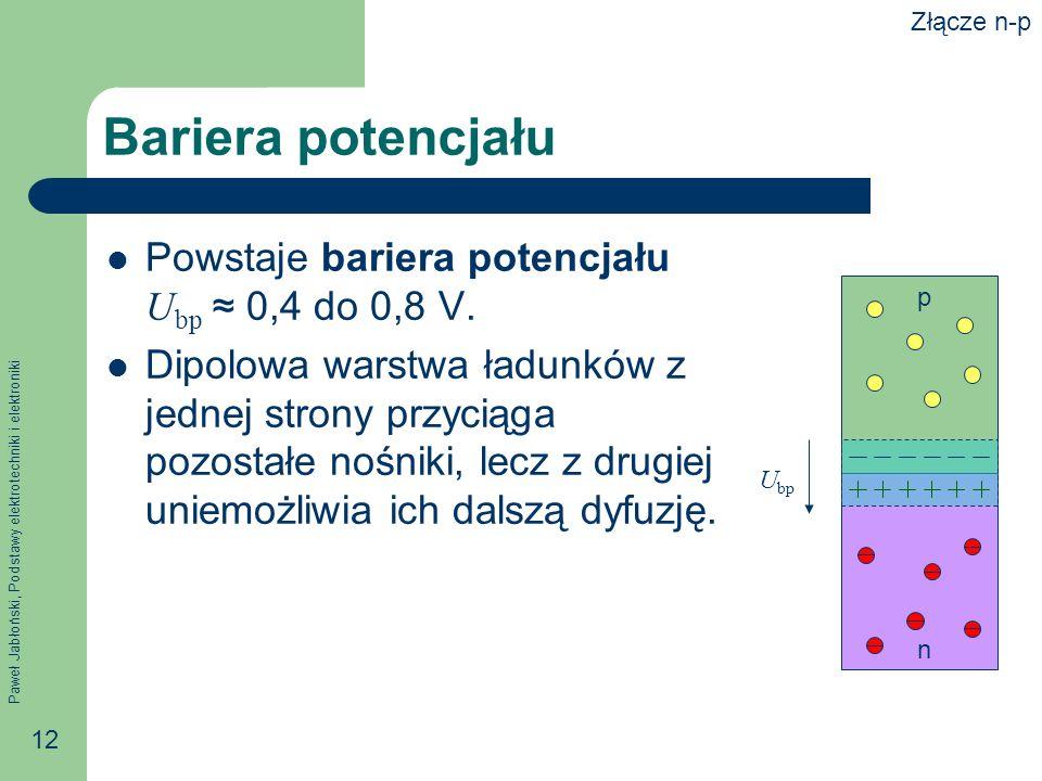Bariera potencjału Powstaje bariera potencjału Ubp ≈ 0,4 do 0,8 V.