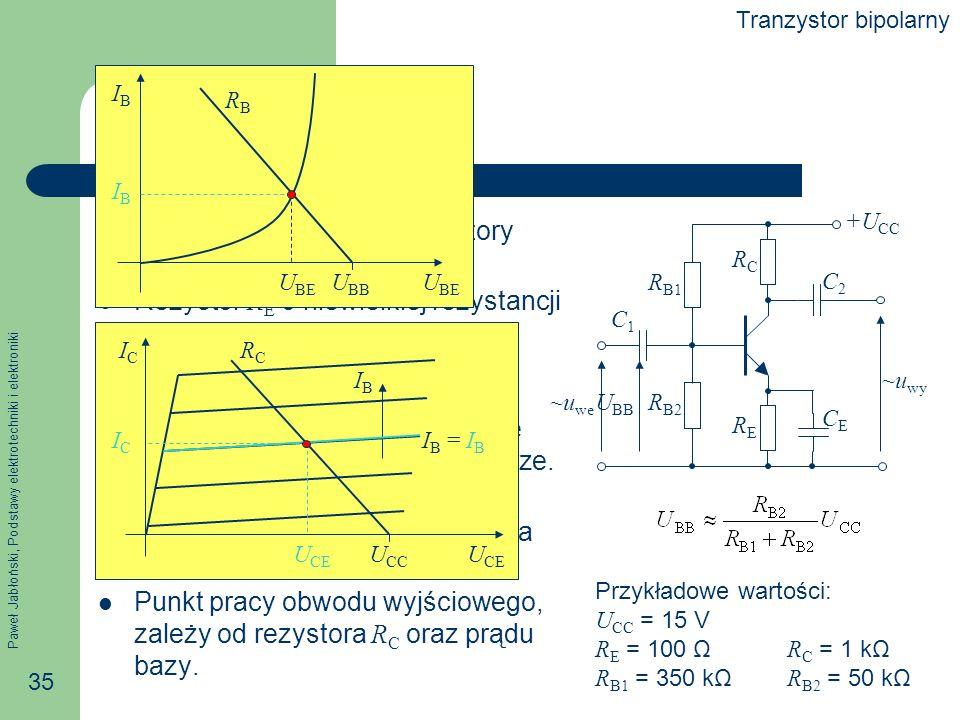 Punkt pracy Dla prądu stałego kondensatory stanowią przerwę.
