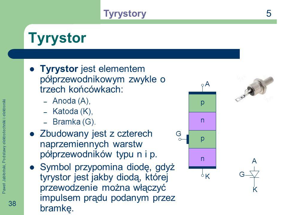 5 Tyrystory. Tyrystor. Tyrystor jest elementem półprzewodnikowym zwykle o trzech końcówkach: Anoda (A),
