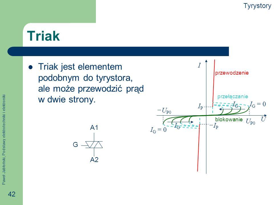 Tyrystory Triak. Triak jest elementem podobnym do tyrystora, ale może przewodzić prąd w dwie strony.