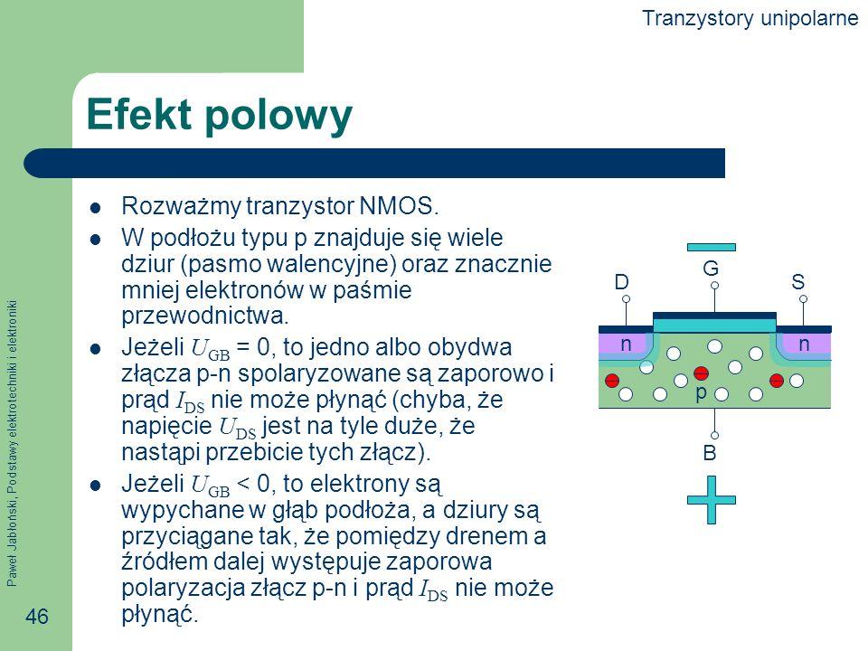 Efekt polowy Rozważmy tranzystor NMOS.