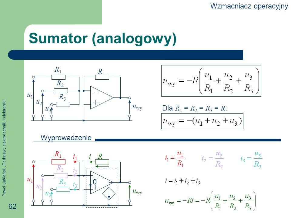 Sumator (analogowy) Wzmacniacz operacyjny R u2 uwy u3 u1 R1 R2 R3