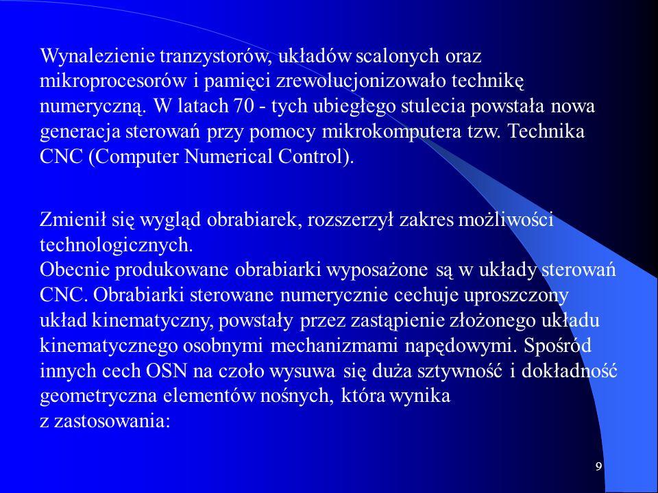 Wynalezienie tranzystorów, układów scalonych oraz mikroprocesorów i pamięci zrewolucjonizowało technikę numeryczną. W latach 70 - tych ubiegłego stulecia powstała nowa generacja sterowań przy pomocy mikrokomputera tzw. Technika CNC (Computer Numerical Control).