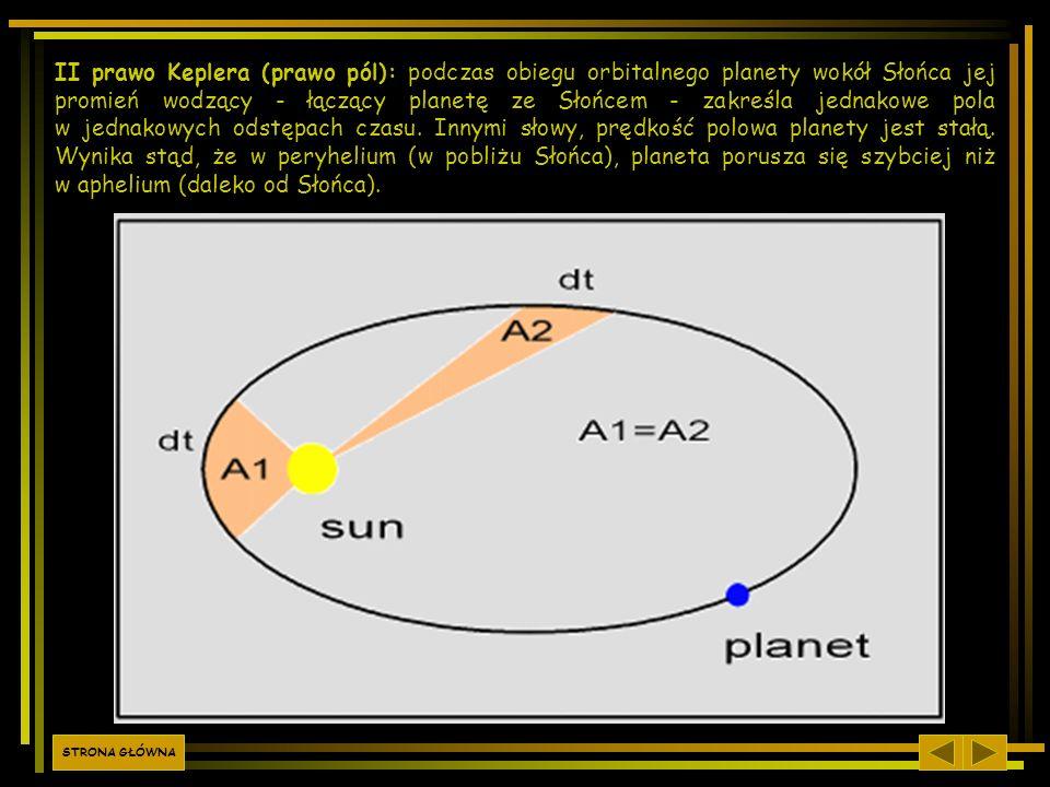 II prawo Keplera (prawo pól): podczas obiegu orbitalnego planety wokół Słońca jej promień wodzący - łączący planetę ze Słońcem - zakreśla jednakowe pola w jednakowych odstępach czasu. Innymi słowy, prędkość polowa planety jest stałą. Wynika stąd, że w peryhelium (w pobliżu Słońca), planeta porusza się szybciej niż w aphelium (daleko od Słońca).